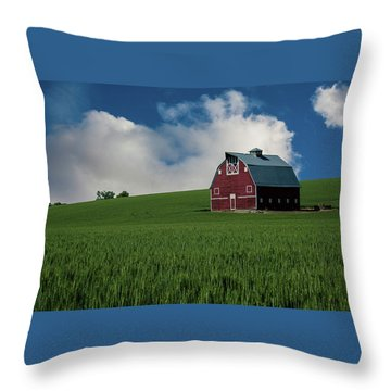 Old Red Barn In The Palouse Throw Pillow by James Hammond