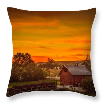 Old Red Barn Throw Pillow by Robert Bales