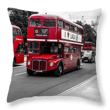 Old Red Bus Bw Throw Pillow