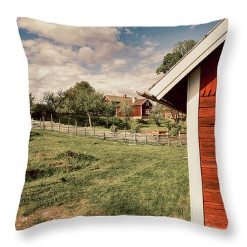 Old Red Farm Set In A Rural Nature Landscape Throw Pillow