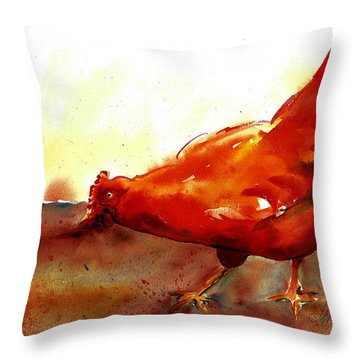 Picking With The Chickens Throw Pillow