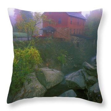 Old Red Mill Jericho Vermont Throw Pillow by John Burk