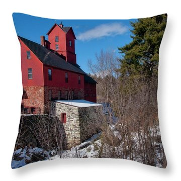 Throw Pillow featuring the photograph Old Red Mill - Jericho, Vt. by Joann Vitali