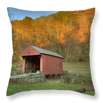 Old Red Or Walkersville Covered Bridge Throw Pillow