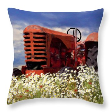Old Red Tractor Throw Pillow