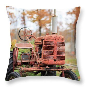 Old Red Tractor Quechee Vermont Fall Throw Pillow