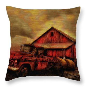 Old Red Truck And Barn Throw Pillow by Bill Cannon