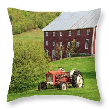 Old Red Vintage Ford Tractor On A Farm In Enfield Nh Throw Pillow