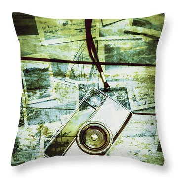 Old Retro Film Camera In Creative Composition Throw Pillow