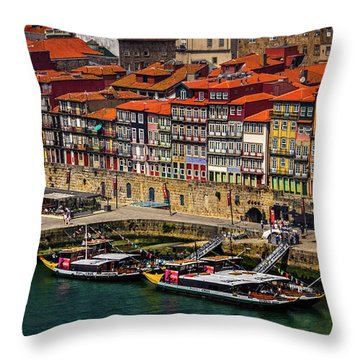 Throw Pillow featuring the photograph Old Ribeira Porto  by Carol Japp