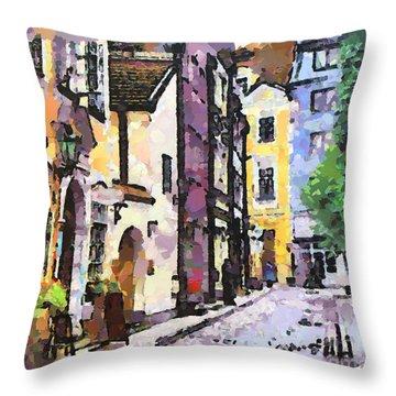 Old Riga Street Throw Pillow