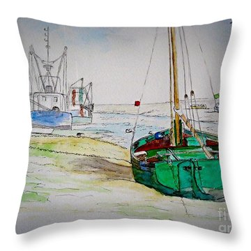 Old River Thames Fishing Boat Throw Pillow