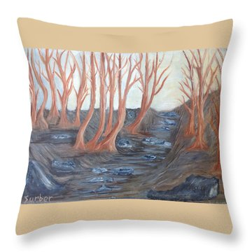 Old Road Through The Trees Throw Pillow