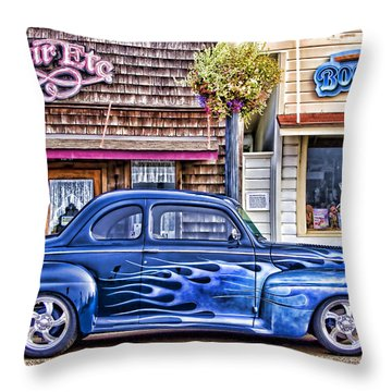 Old Roadster - Blue Throw Pillow