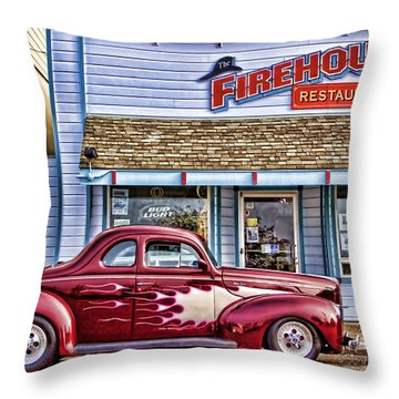 Old Roadster - Red Throw Pillow