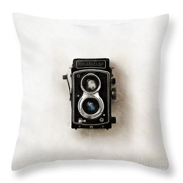 Throw Pillow featuring the digital art Old Rolleiflex Twin Reflex Camera by Edward Fielding