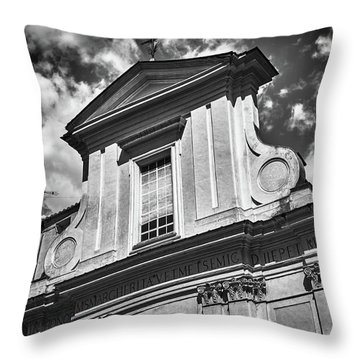 Old Roman Building In Black And White Throw Pillow