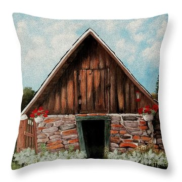 Throw Pillow featuring the painting Old Root House by Anastasiya Malakhova