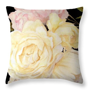 Old Roses In The Garden 2 Throw Pillow
