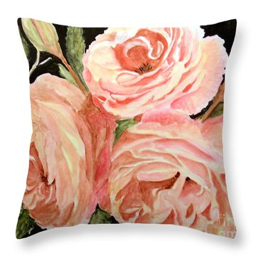 Old Roses In The Garden Throw Pillow