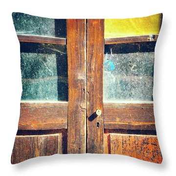 Throw Pillow featuring the photograph Old Rotten Door by Silvia Ganora