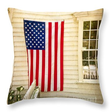 Throw Pillow featuring the photograph Old Rugged Field Flag by Craig J Satterlee