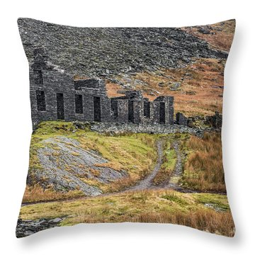 Throw Pillow featuring the photograph Old Ruin At Cwmorthin by Adrian Evans