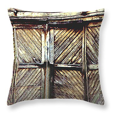 Old Rusted Barn Door Throw Pillow