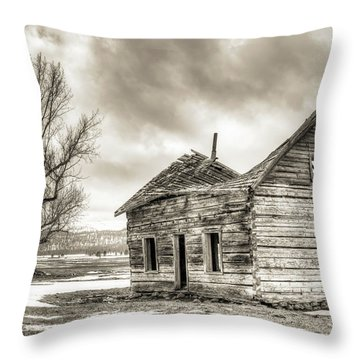 Old Rustic Log House In The Snow Throw Pillow by Dustin K Ryan