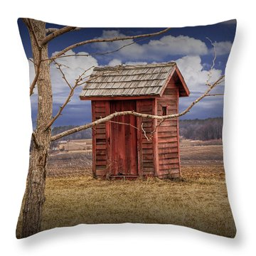Old Rustic Wooden Outhouse In West Michigan Throw Pillow