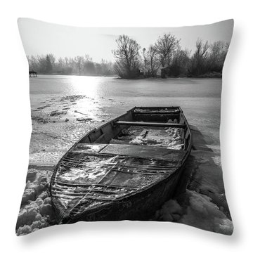 Throw Pillow featuring the photograph Old Rusty Boat by Davorin Mance
