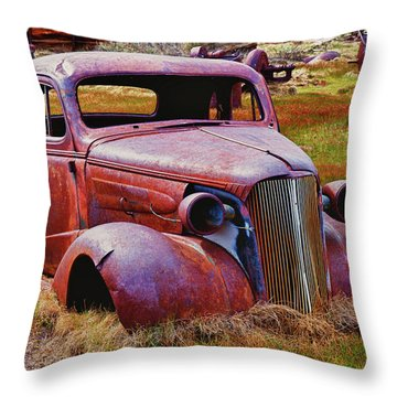Old Rusty Car Bodie Ghost Town Throw Pillow by Garry Gay