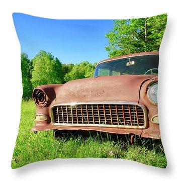 Old Rusty Car Throw Pillow