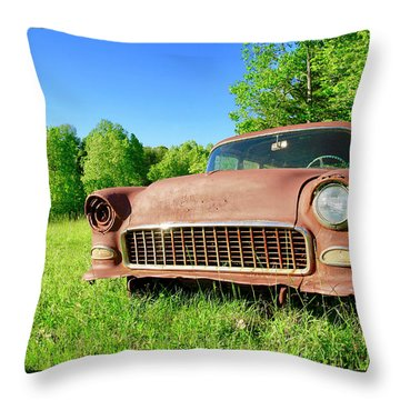 Old Rusty Car Throw Pillow