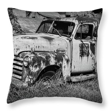 Old Rusty Chevy In Black And White Throw Pillow by Paul Ward