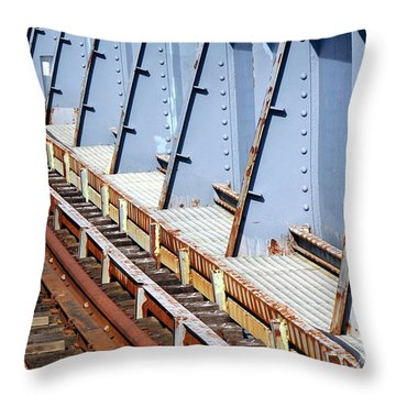 Throw Pillow featuring the photograph Old Rusty Railway Bridge by Yali Shi
