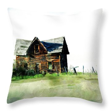 Old Sagging House Throw Pillow