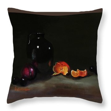 Old Sake Jug And Fruit Throw Pillow by Barry Williamson