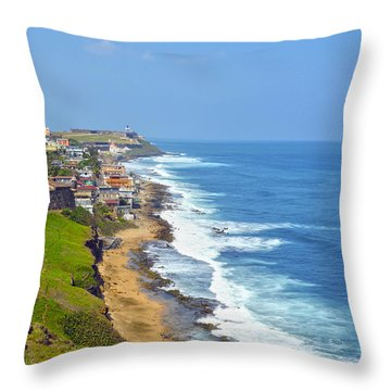 Old San Juan Coastline 3 Throw Pillow by Stephen Anderson