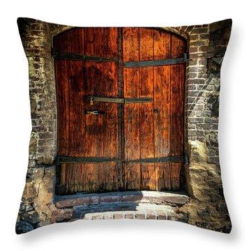 Old Savannah Warehouse Door Throw Pillow