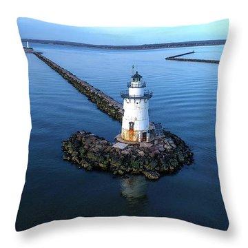 Old Saybrook Outer Lighthouse Throw Pillow