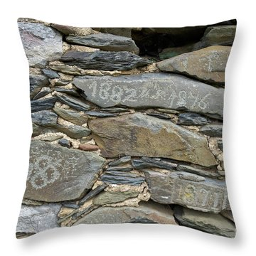 Old Schist Wall With Several Dates From 19th Century. Portugal Throw Pillow by Angelo DeVal