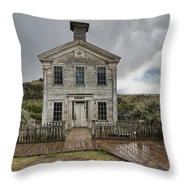Old School House After Storm - Bannack Montana Throw Pillow by Daniel Hagerman