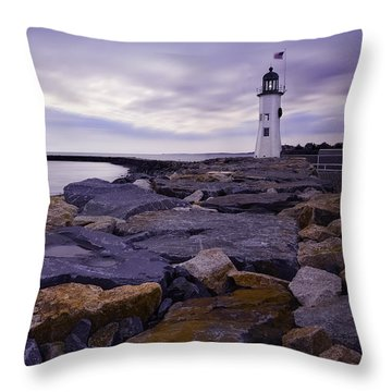 Old Scituate Light At Sunrise Throw Pillow