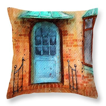 Old Service Station With Blue Door Throw Pillow