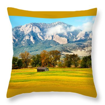 old shed against Flatirons Throw Pillow
