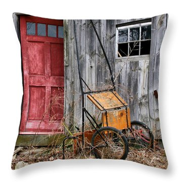 Old Shed Red Door And Pony Cart Throw Pillow