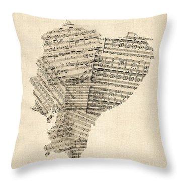 Old Sheet Music Map Of Ecuador Map Throw Pillow