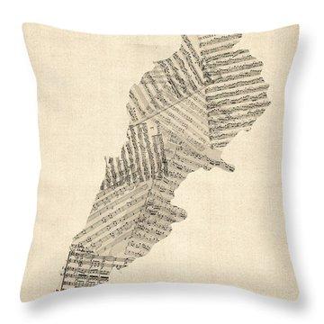 Old Sheet Music Map Of Lebanon Throw Pillow