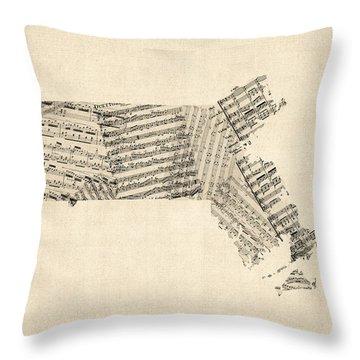 Old Sheet Music Map Of Massachusetts Throw Pillow